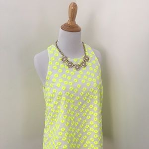 J. Crew Neon Embroidered Top